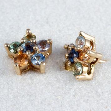 Multi Color Sapphire Earrings